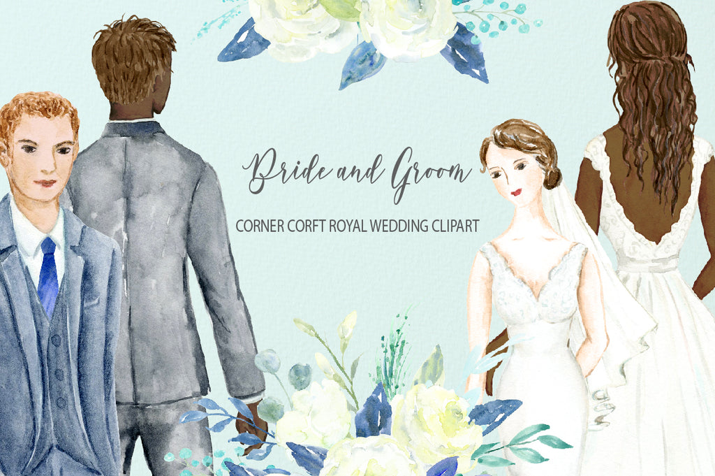 Watercolor roya wedding clipart, white flower clipart