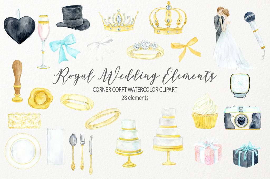 wedding icon instant download, top hat, wedding cake, royal wedding