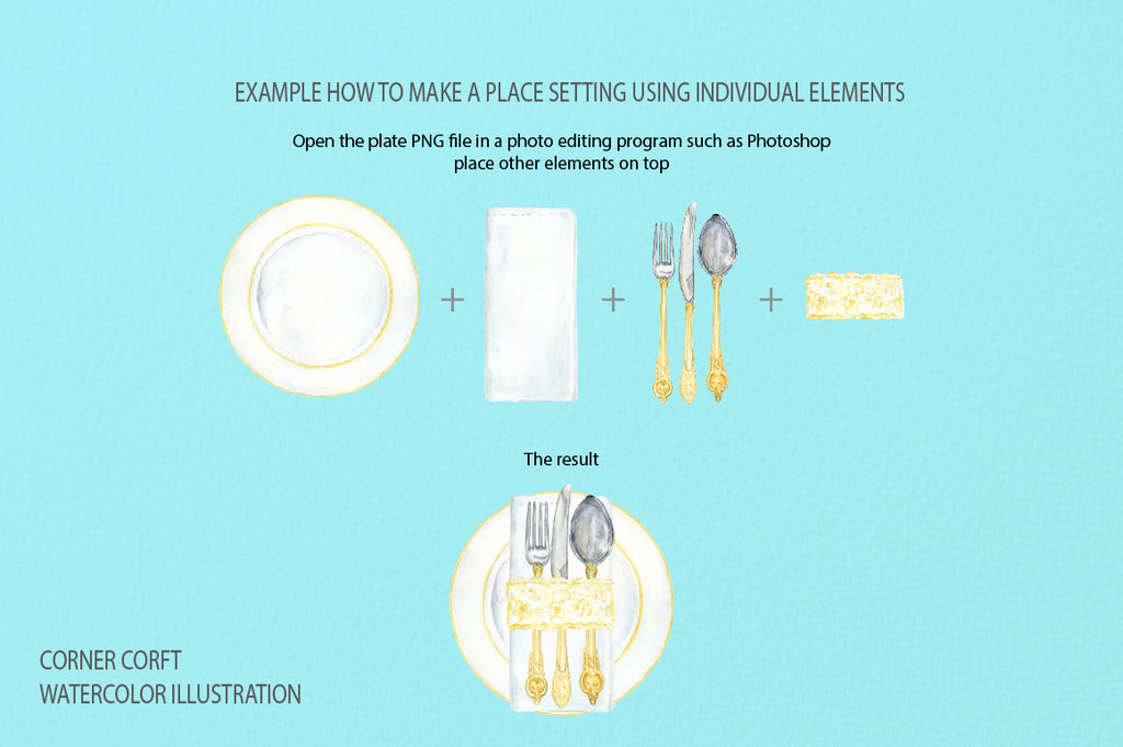 watercolor wedding serving place set, white and gold, instant download