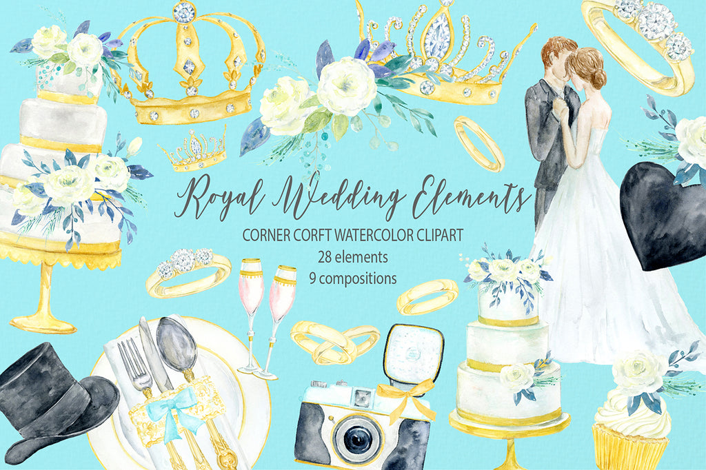 Watercolor royal wedding elements, wedding icon, royalty wedding illustration