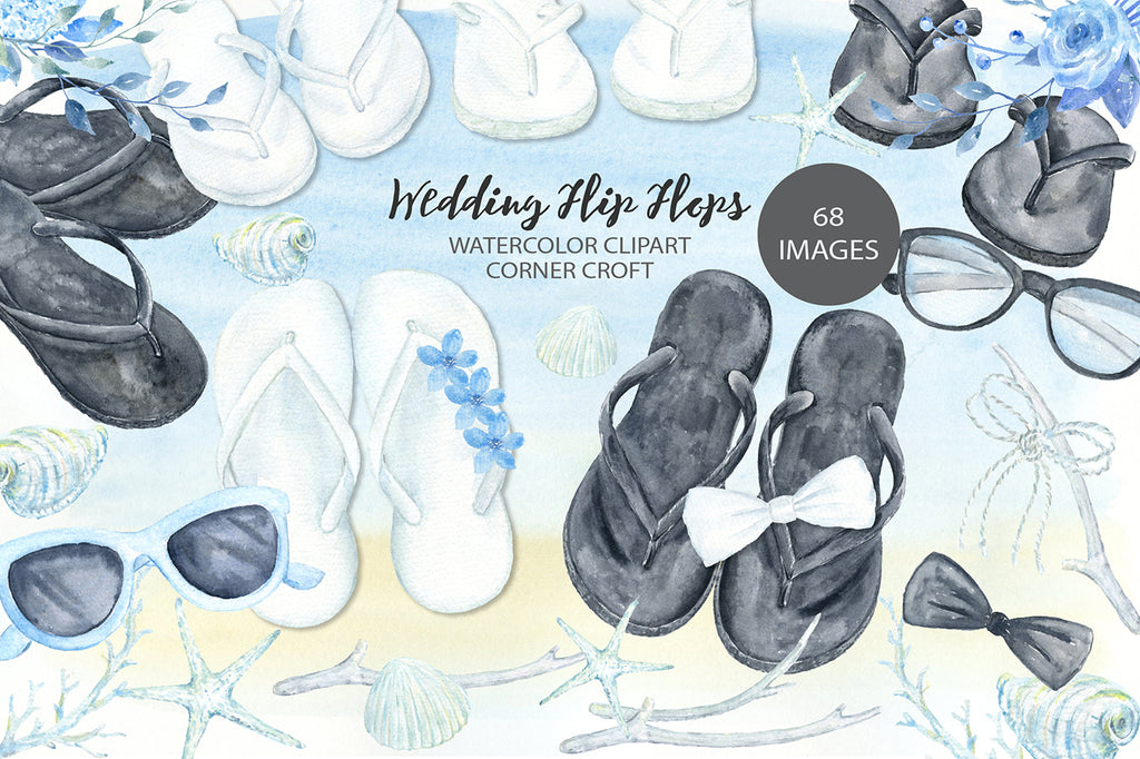 flip flop clipart, watercolor wedding clipart, white sandals, black sandals