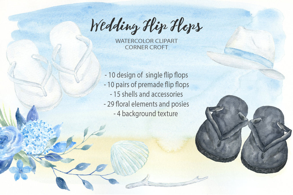 flip flops collection, flip flops wedding illustration, wedding clipart, instant download