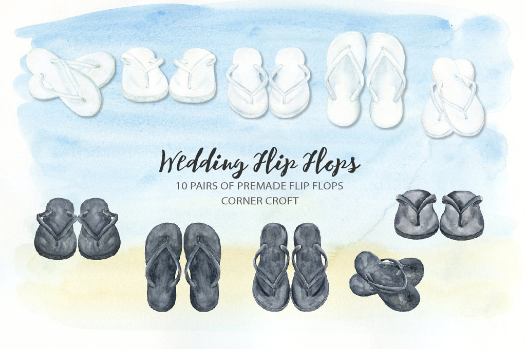 black sandals, white sandals, mrs and mrs, flip flops illustration, detailed drawing
