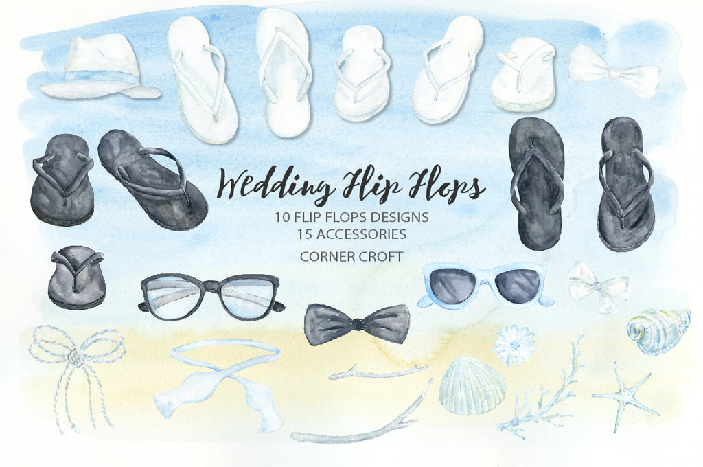 watercolor white flip flops, black flip flops, wedding shoes, wedding sandals, summer shoes