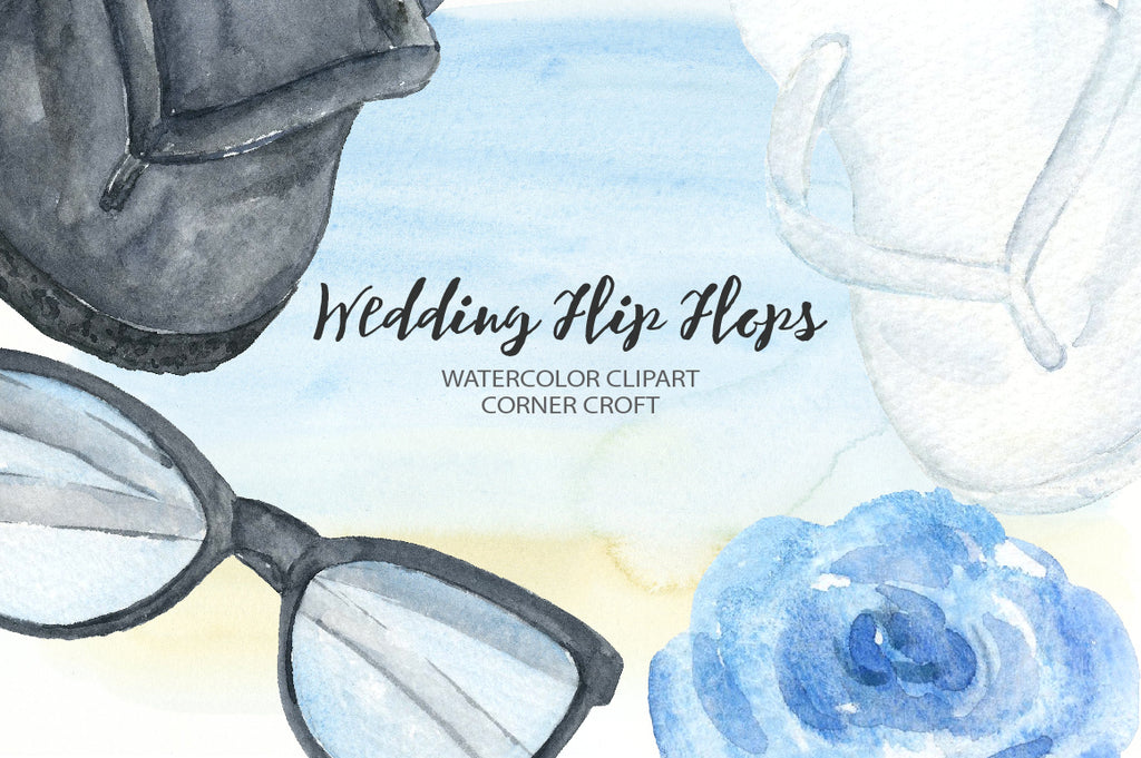 watercolour wedding flip flops collection, wedding clipart instant download
