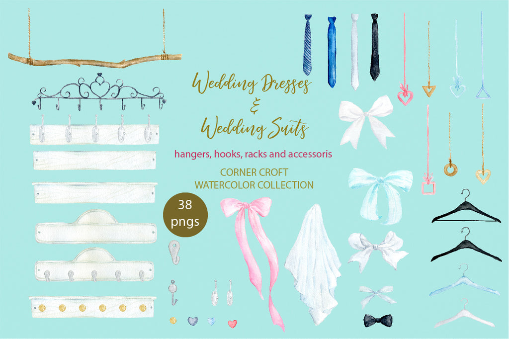 watercolor clipart, wedding hangers, bow, hanger
