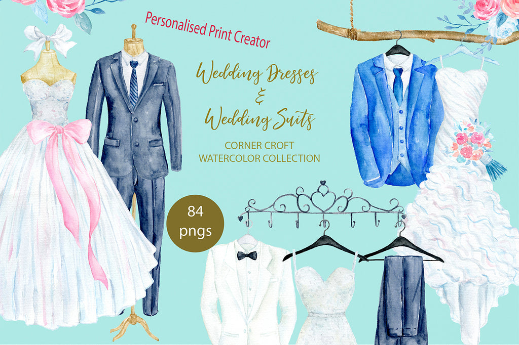 Watercolor wedding dress and wedding suit, hangers, mannequin, clothes rack, wedding outfit clipart