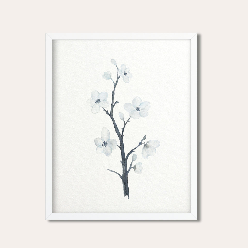 white cherry flowers, watercolor cherry flower, white cherry blossoms, teen room decor, art print, digital download