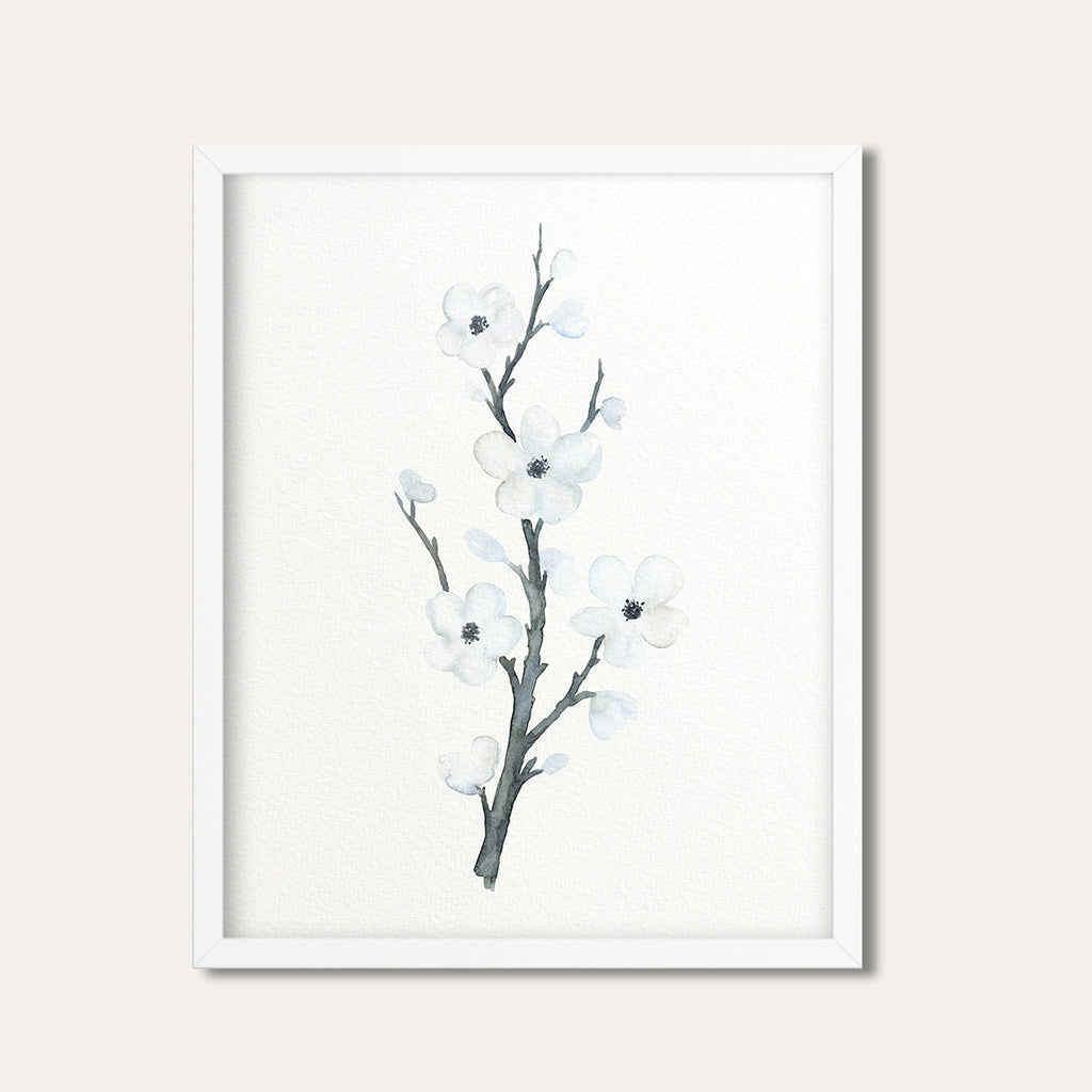 watercolour cherry blossoms, white cherry flower, teen room deco, watercolor print, digital download