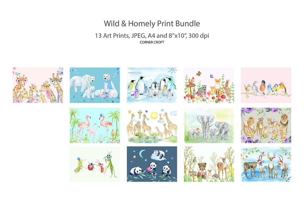 "Wildlife Animal Family Print Bundle, 13 prints, A4, 8""x10"""