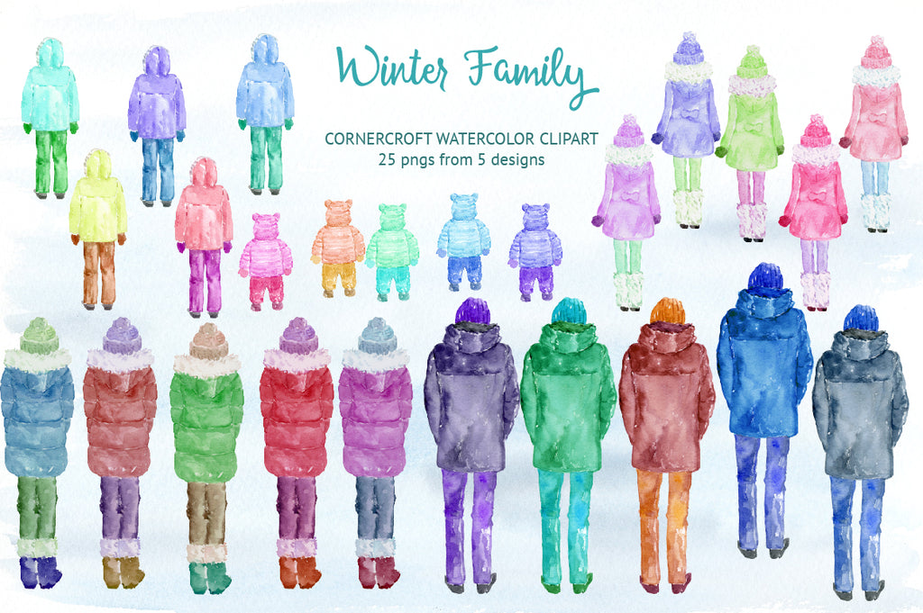 watercolor figures illustration, winter family clipart