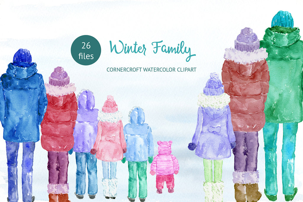 watercolor clipart of family figures in winter coats, mum, dad and kids illustration