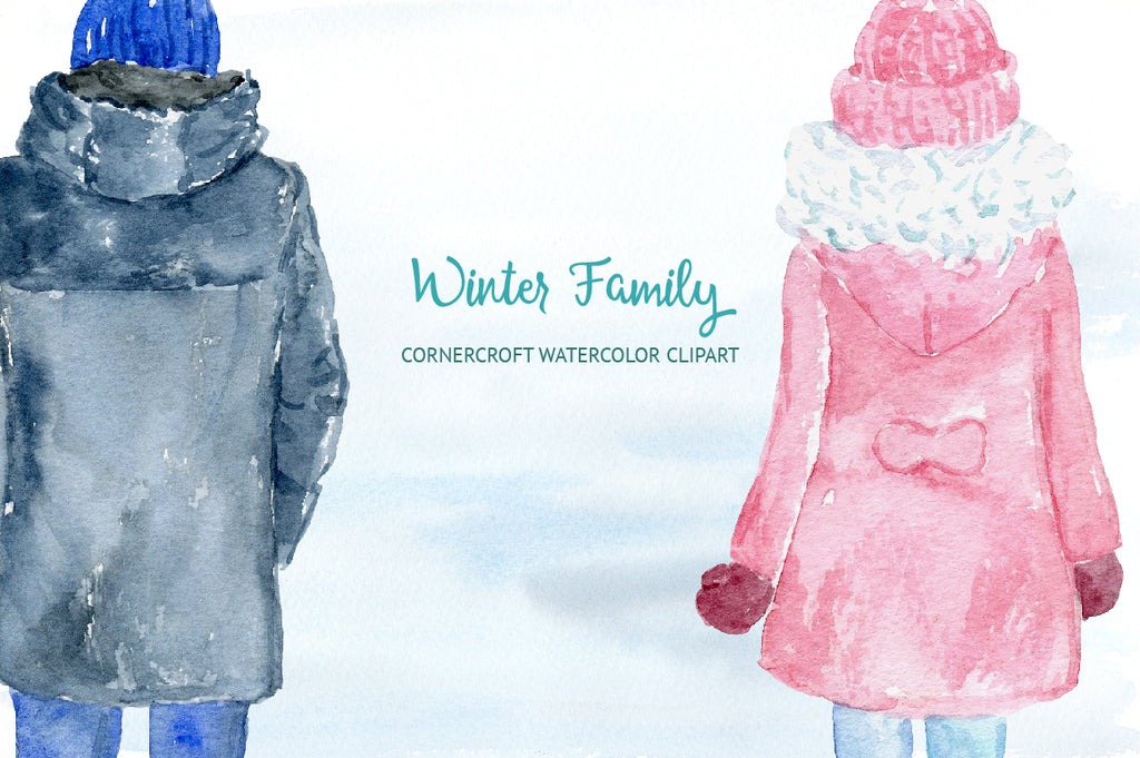 watercolor clipart of mum, dad, boy, girl and baby, winter coats, instant download