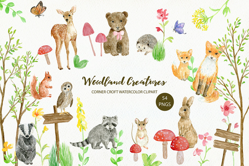 watercolor illustration of woodland animals,  bird and insects including fox mum and fox baby, bear, deer, mouse, red squirrel, badger, hedgehog, rabbit, raccoon, owl and butterflies
