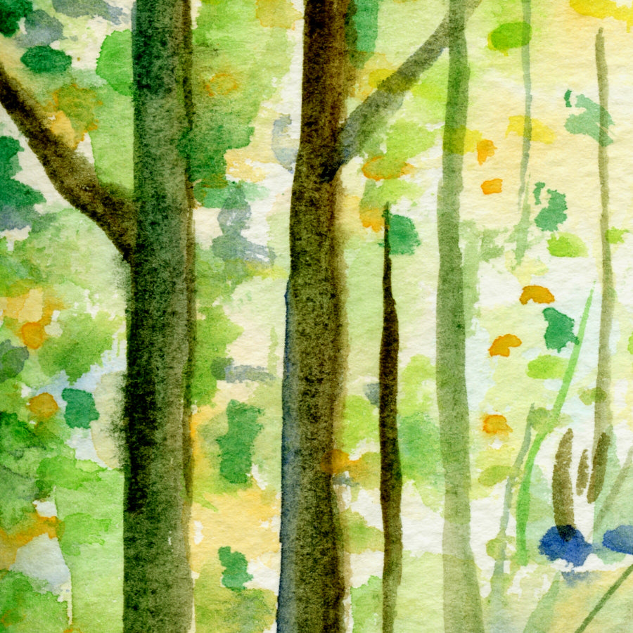 watercolor painting of woodland in spring, instant download