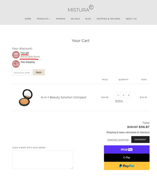 Mistura Beauty - Cart page with gift chosen - how to order