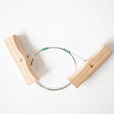 CHEESE WIRE SET - STAINLESS WIRE, WITH BEECHWOOD HANDLES.