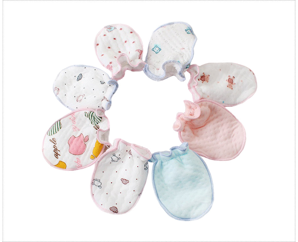 5 Pair Newborn Mittens That Stay On!