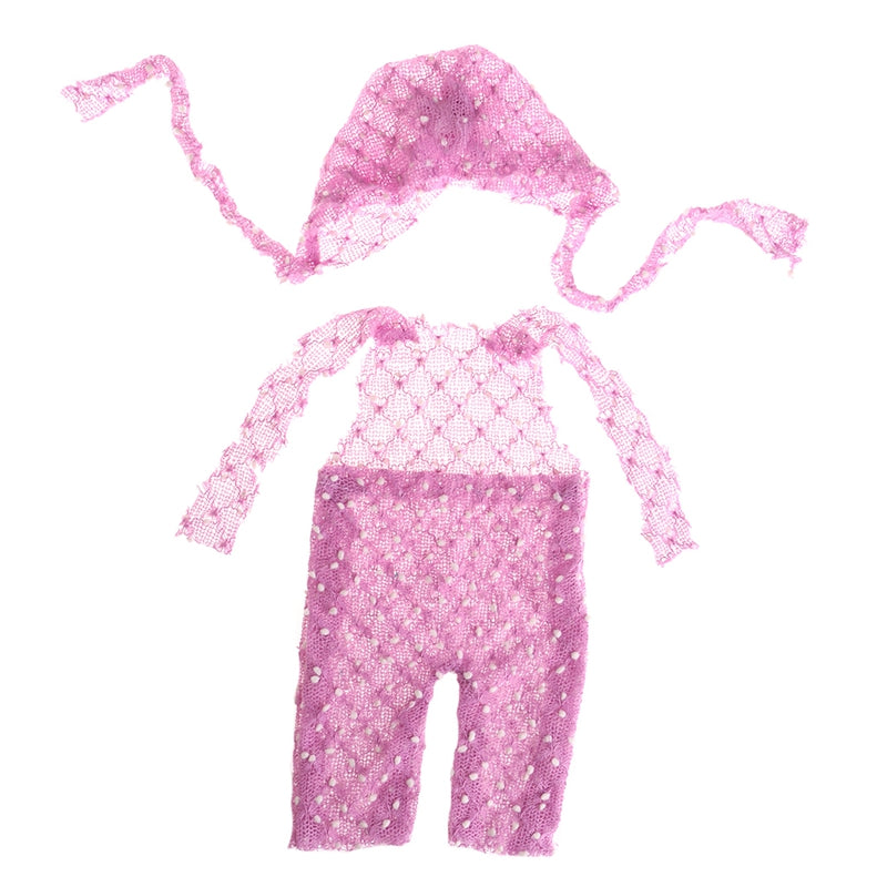Newborn Photo Props - Baby Knitted Soft Mohair Hat and Trousers