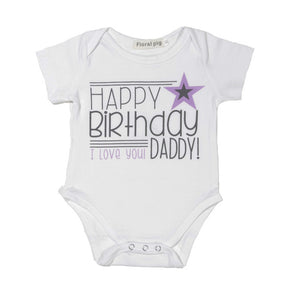 Cute HAPPY BIRTHDAY I LOVE YOU MOMMY/DADDY White Bodysuits - 0 to 12 months
