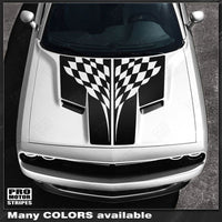 Dodge Challenger 2015-2019 Split Hood Checkered Stripes