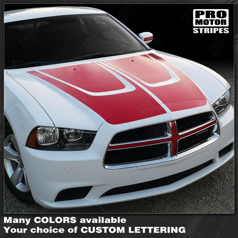 Dodge Charger 2011-2014 Hood Accent Crown Stripes 122551585492-1