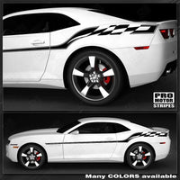 Chevrolet Camaro 2010-2015 Checkered Flag Style Side Stripes Auto Decals - Pro Motor Stripes