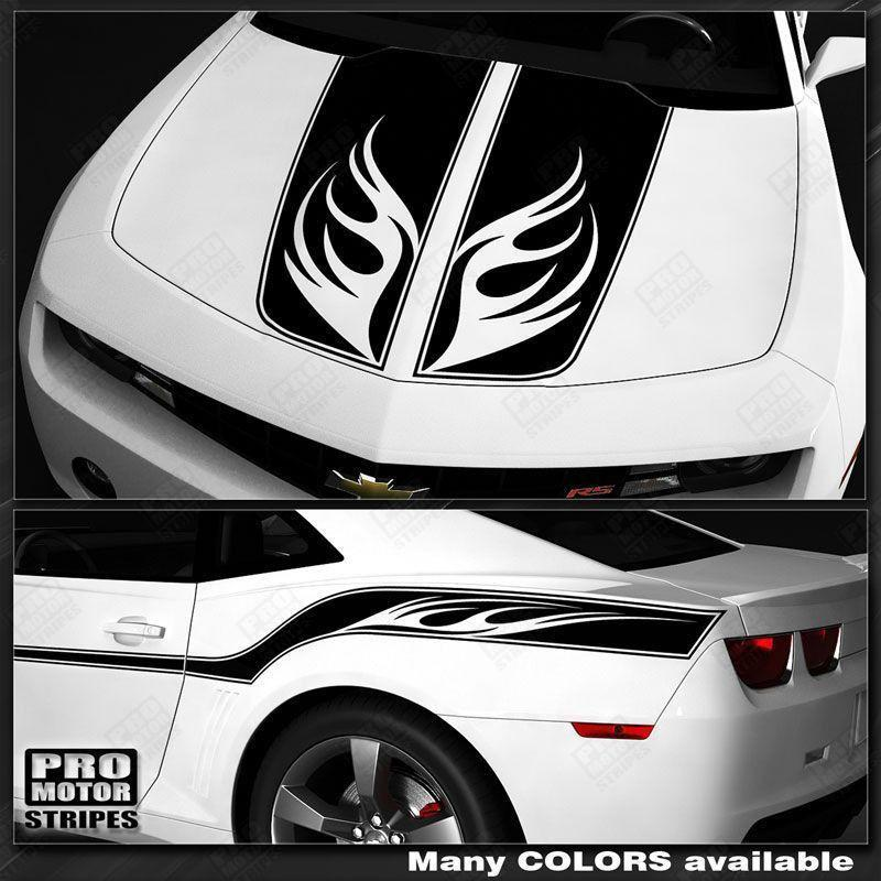 Chevrolet Camaro 2010-2015 Racing Wings Top and Side Stripes Auto Decals - Pro Motor Stripes