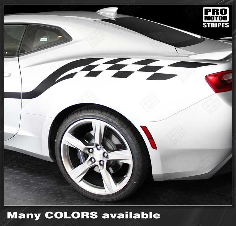 Chevrolet Camaro 2016-2018 Checkered Style Side Stripes Auto Decals - Pro Motor Stripes
