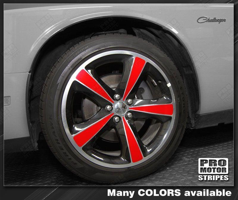 "Dodge Challenger 20"" Wheels Rims Insert Overlay Stripes Auto Decals - Pro Motor Stripes"