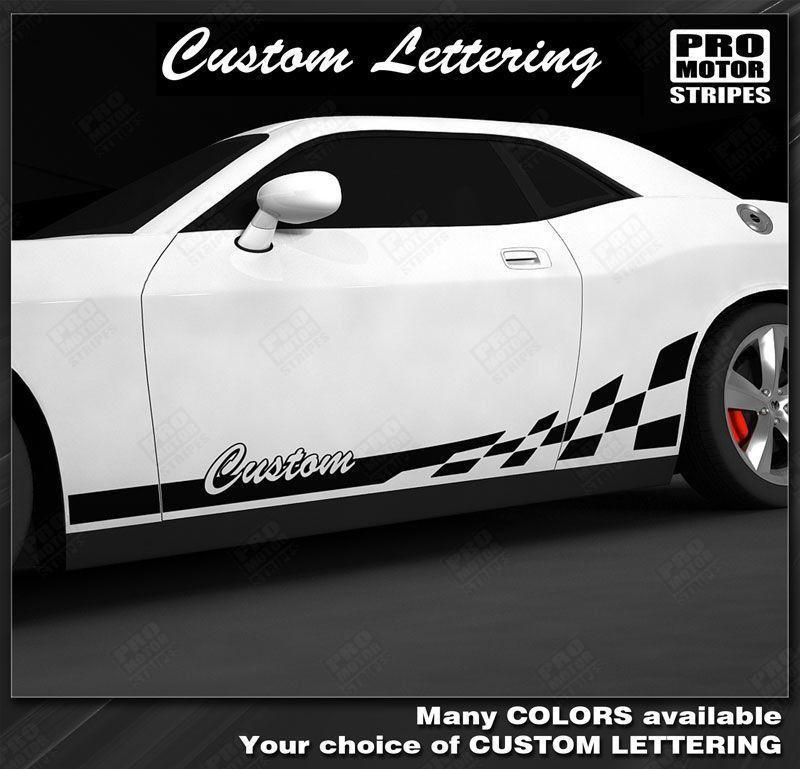 Dodge Challenger 2008-2018 Checkered Rocker Stripes w/ Lettering Auto Decals - Pro Motor Stripes