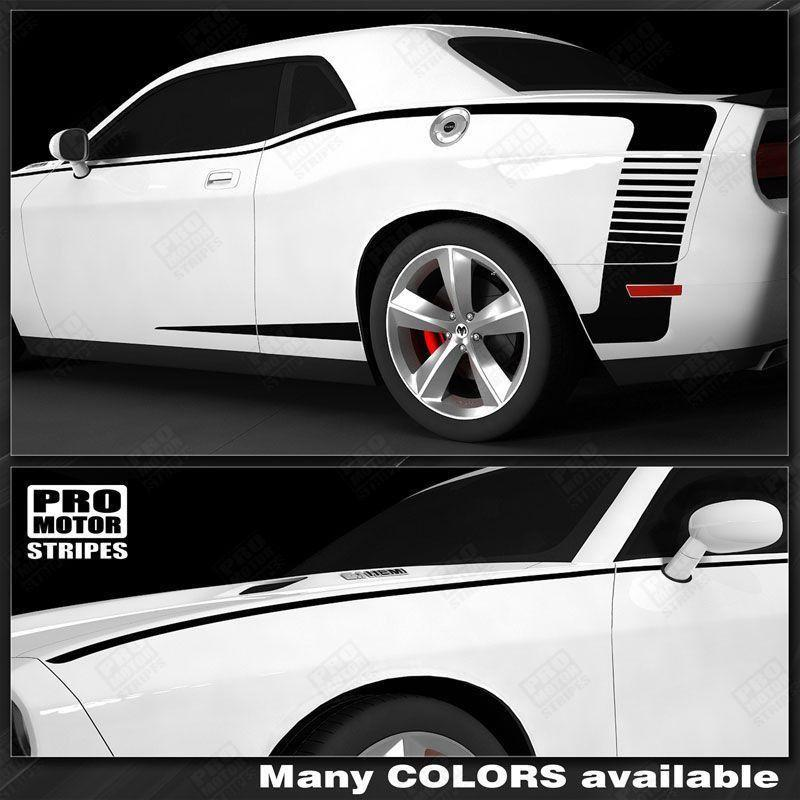 Dodge Challenger 2008-2018 Extended Side C-Stripes Strobe Decals Auto Decals - Pro Motor Stripes