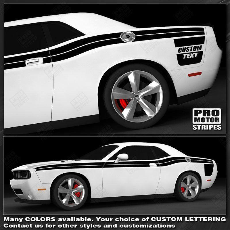 Dodge Challenger Double Stripes with Strobe Side Decals 2008 2009 2010 Pro Motor