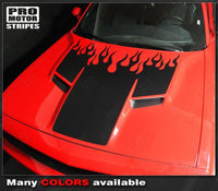 Dodge Challenger 2008-2018 Fire Flame Hood Stripes Auto Decals - Pro Motor Stripes