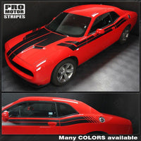 Dodge Challenger 2008-2018 Hood, Fender, Side Dual Stripes Auto Decals - Pro Motor Stripes