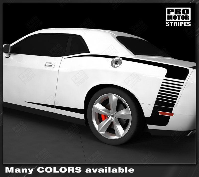 Dodge Challenger 2008-2018 Rear Quarter Side C-Stripes Auto Decals - Pro Motor Stripes
