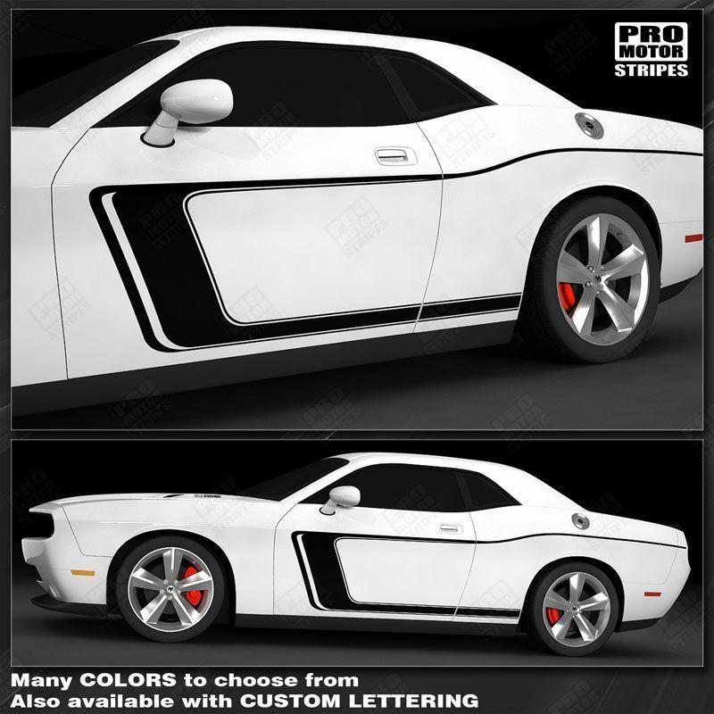2008 2009 2010 2011 2012 2013 2014 2015 2016 2017 2018 2019 Dodge Challenger side  door  rocker panel Decals Stripes 122551585482-1