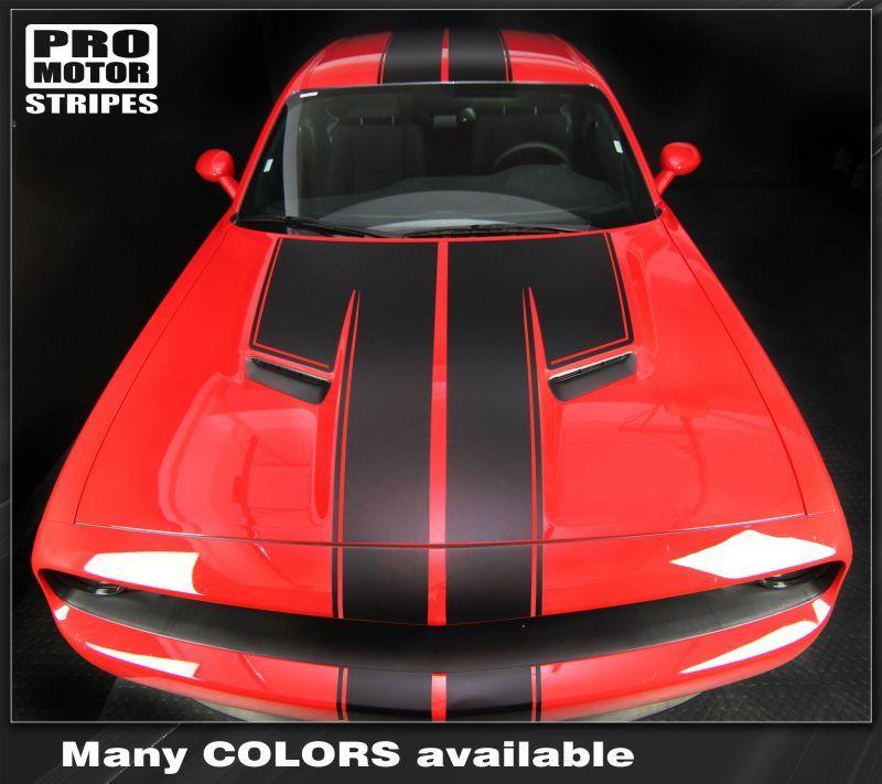 Dodge Challenger 2008-2018 Top Double Stripes Pinstriping Auto Decals - Pro Motor Stripes