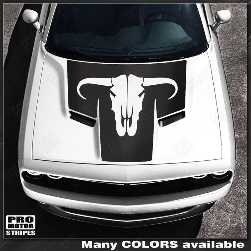 Dodge Challenger 2008-2018 Toro Bull Skull Hood Stripe Decal Auto Decals - Pro Motor Stripes