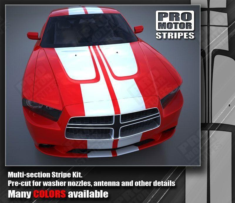 Dodge Charger 2011-2014 Hood and Double Top Racing Stripes Auto Decals - Pro Motor Stripes