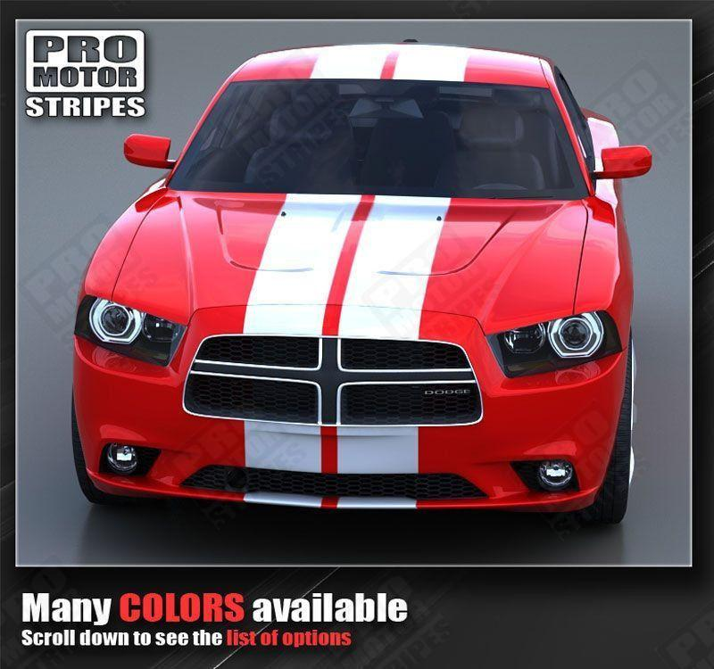 Dodge Charger 2011-2014 Rally Racing Double Top Stripes Auto Decals - Pro Motor Stripes