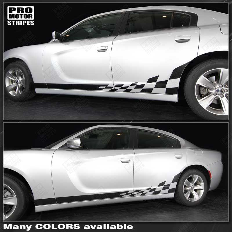 Dodge charger 2011 2018 checkered rocker panel side stripes decal auto decals pro motor