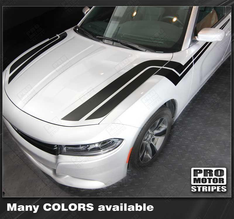 Dodge Charger 2011-2018 Fender To Side Thunderbolt Hash Stripes Auto Decals - Pro Motor Stripes