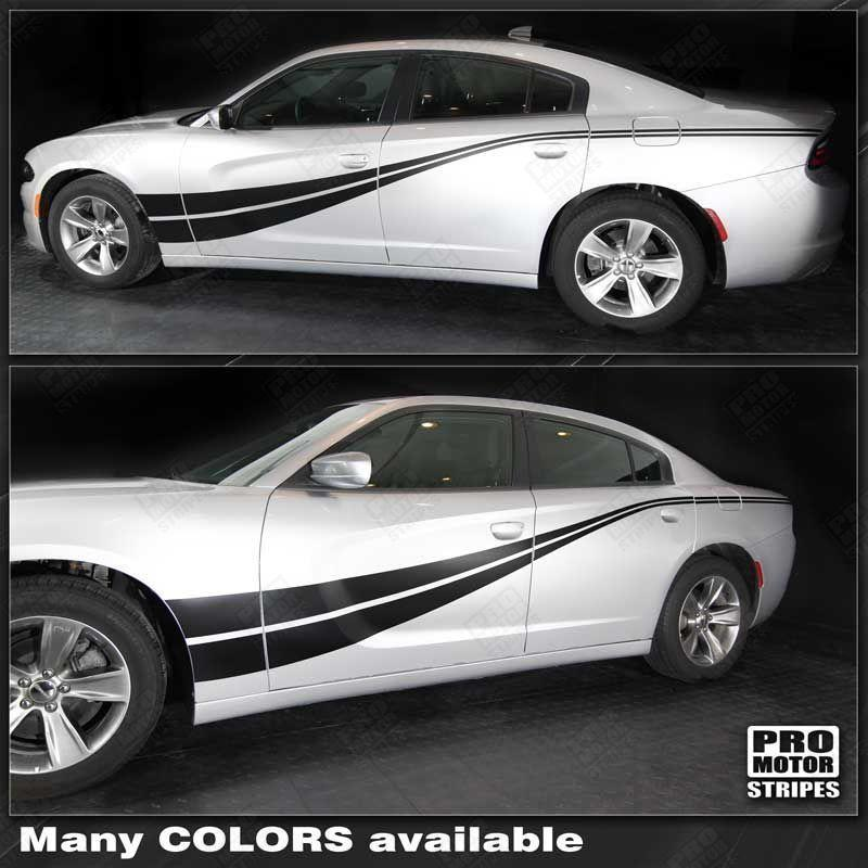 Dodge Charger 2011-2018 Side Accent Double Stripes Auto Decals - Pro Motor Stripes