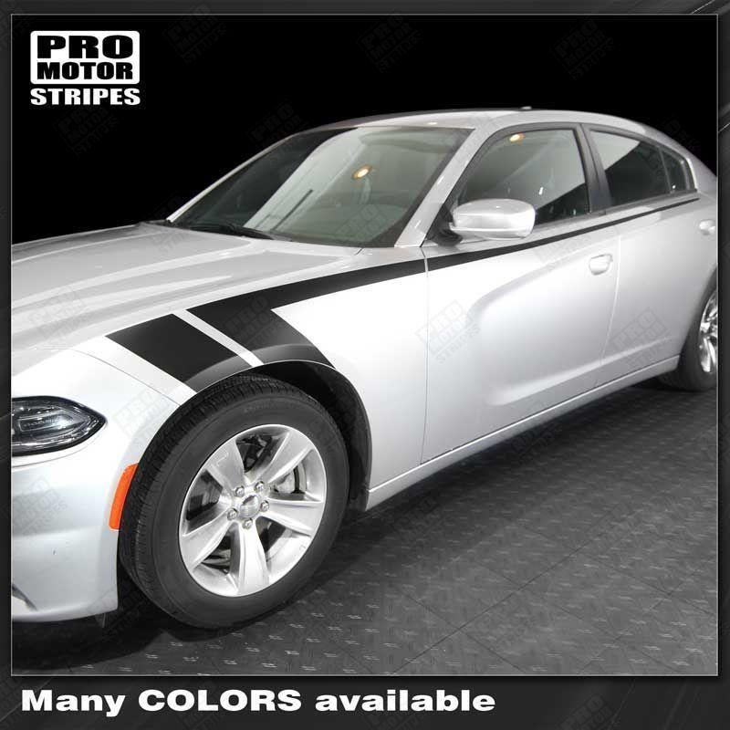 Dodge charger 2011 2018 side accent fender hash stripes auto decals pro motor stripes