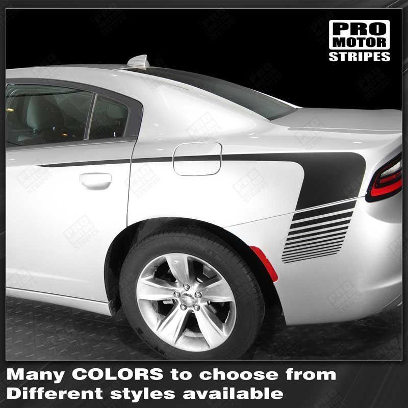 Dodge Charger 2015-2018 Rear Quarter Side Accent Stripes Auto Decals - Pro Motor Stripes