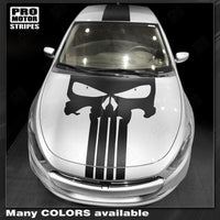Dodge Dart 2013-2018 Punisher Style Skull Hood&Top Stripes Auto Decals - Pro Motor Stripes