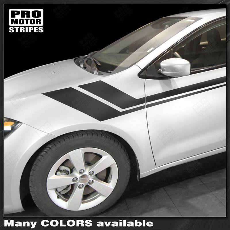 Dodge Dart 2013-2018 Side Accent Fender Hash Long Stripes Auto Decals - Pro Motor Stripes
