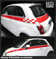 Fiat 500 2007-2015 Checkered Side & Rear Stripes Auto Decals - Pro Motor Stripes