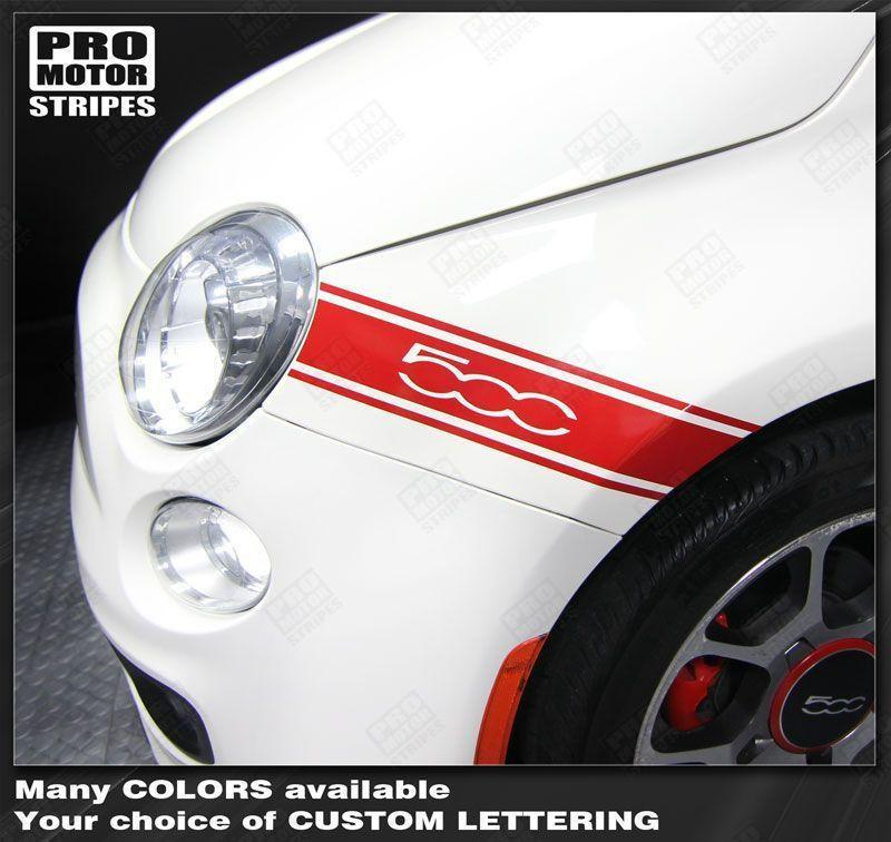 2007 2008 2009 2010 2011 2012 2013 2014 2015 Fiat 500 side Decals Stripes 152588457491-1